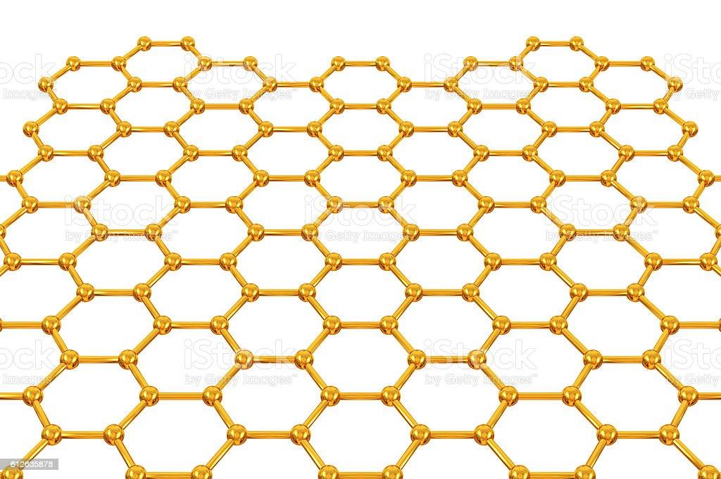 Sticks and beads hexagonal mesh stock photo