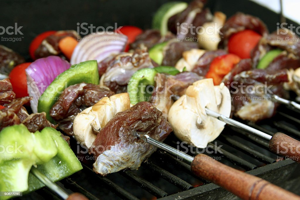 BBQ sticks close-up stock photo