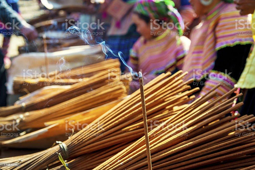 sticks for sale at Bac Ha Market, Vietnam royalty-free stock photo