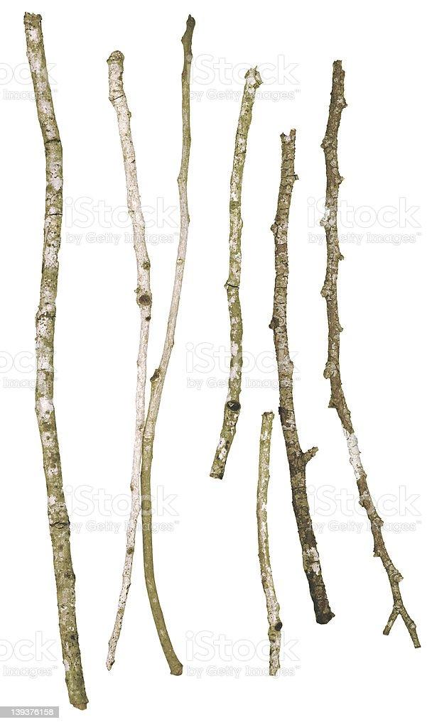 Sticks & twigs (isolated on white) royalty-free stock photo