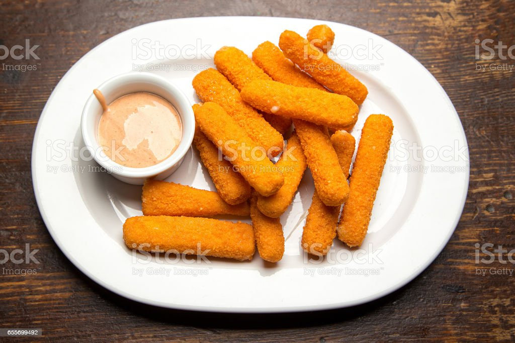 sticks with mozzarella cheese stock photo