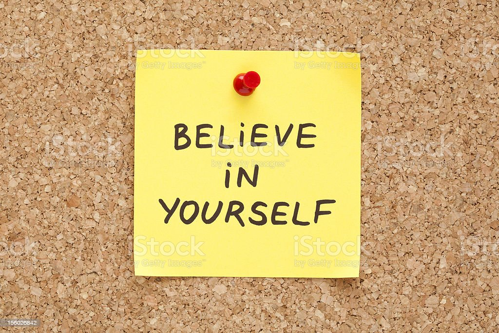 Sticky Believe In Yourself royalty-free stock photo