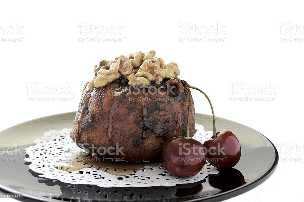 sticky bun with cherries 1 royalty-free stock photo