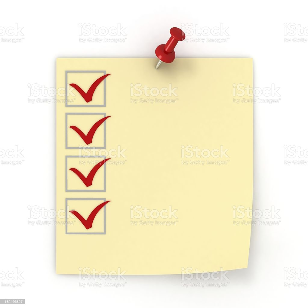 Sticky Checklist royalty-free stock photo