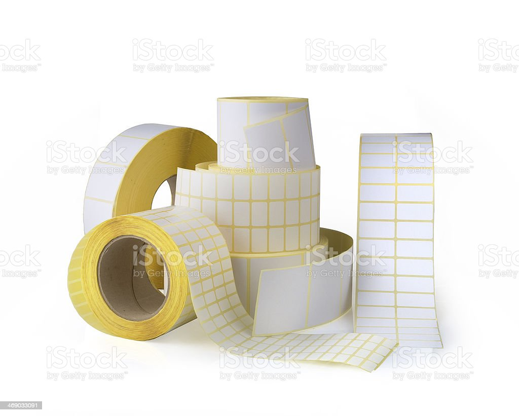 Sticky label rolls stock photo