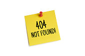 Sticky Note on white with 404 Not Found