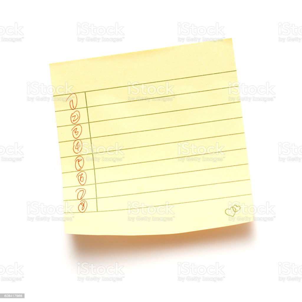 Sticky note paper isolated on white background stock photo