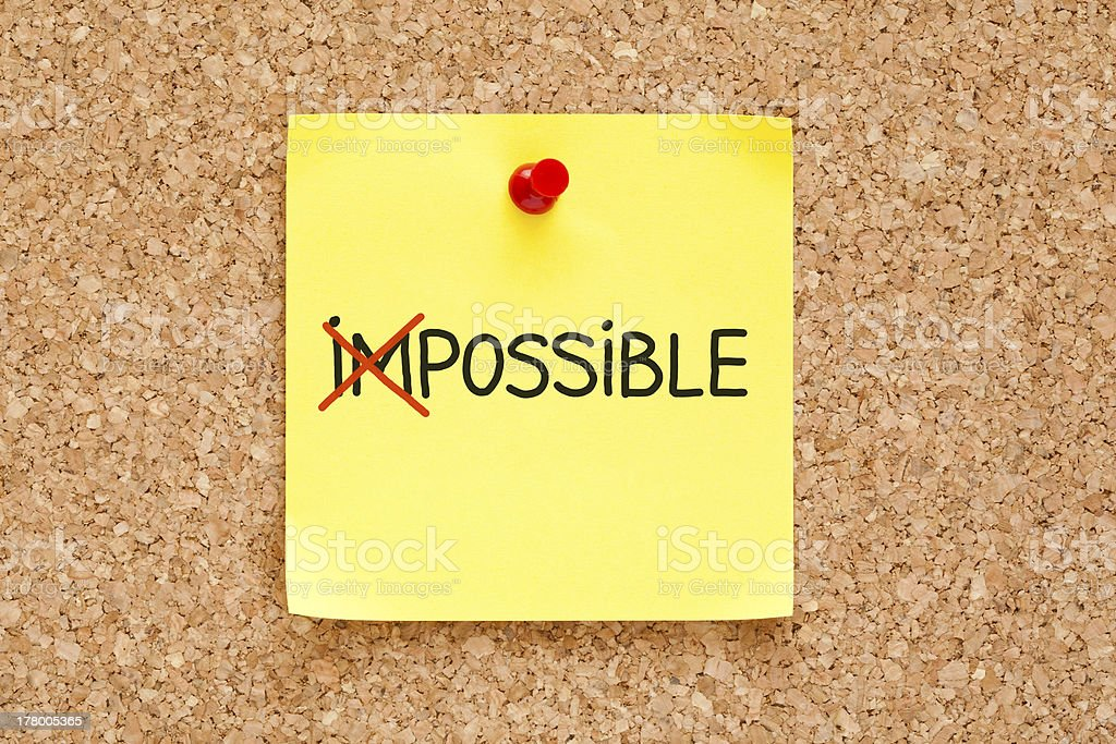 Sticky Note Possible Not Impossible royalty-free stock photo