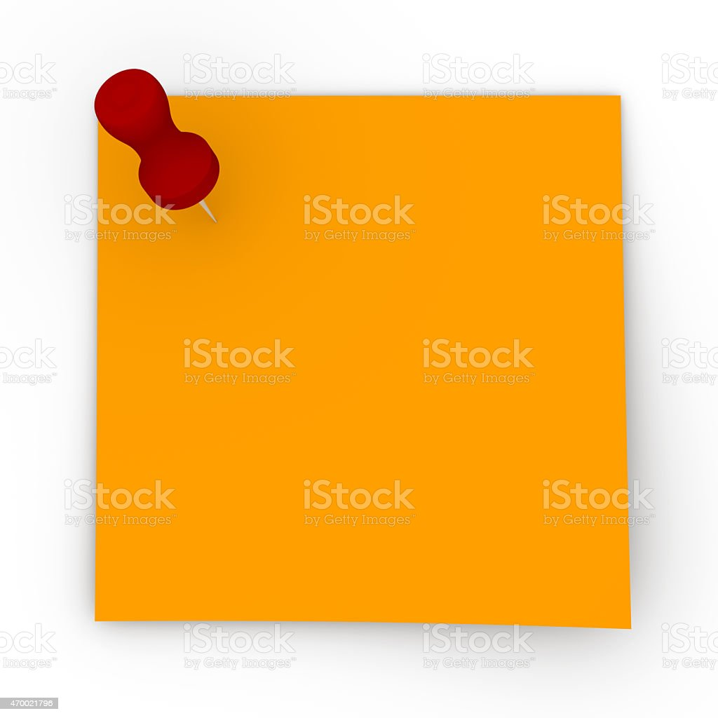 Sticky Note - Red Pin stock photo