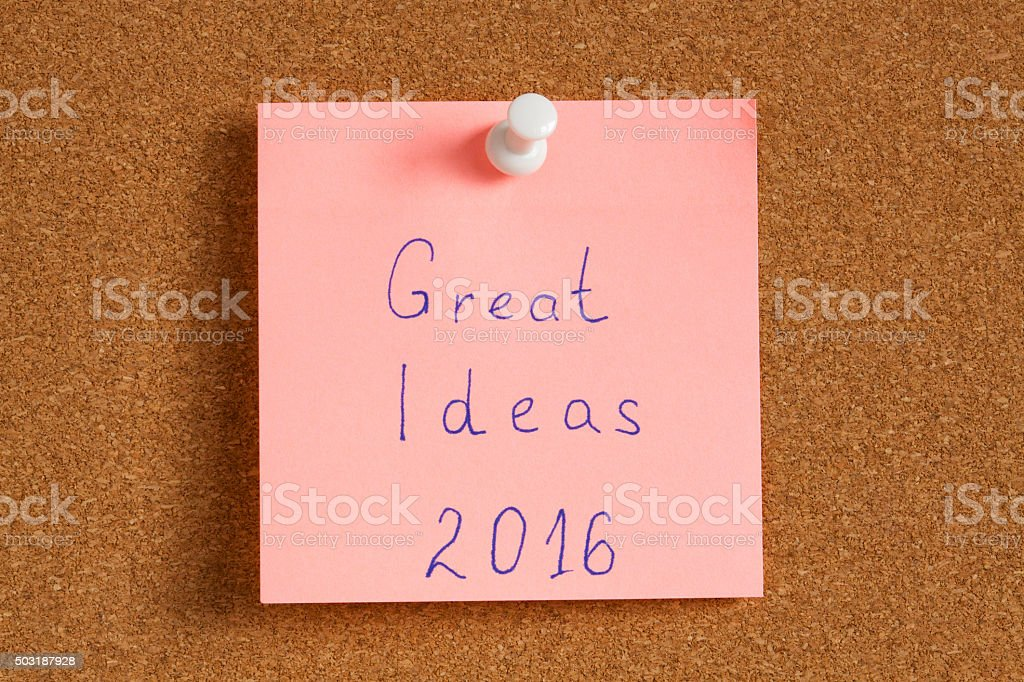 Sticky note with text great idea 2016 stock photo