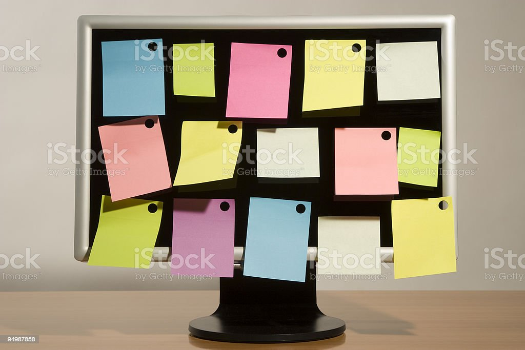 sticky notes and liquid-crystal wide screen royalty-free stock photo