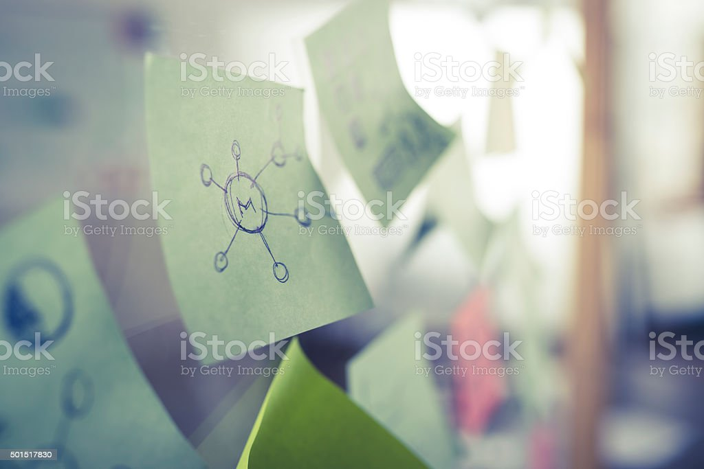 Sticky notes on glass wall stock photo