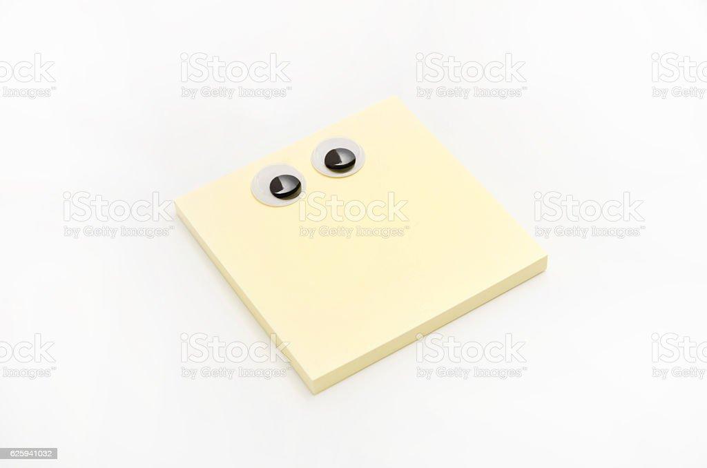 sticky notes,eyeball, look around restlessly stock photo
