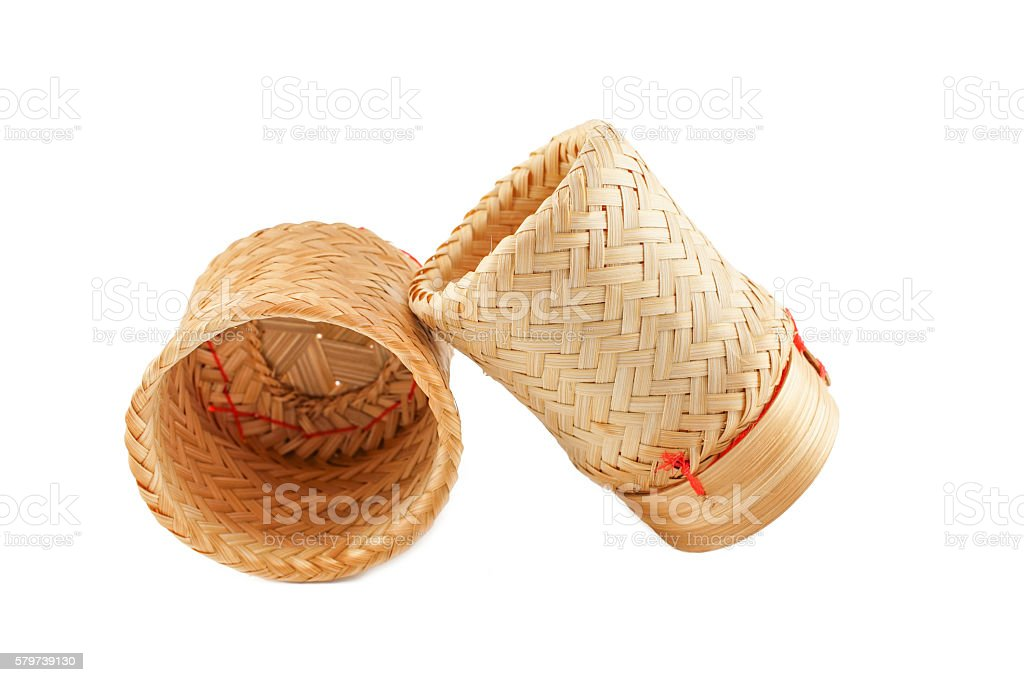 Sticky Rice Bamboo Box ,Kratib , Isolated on White Background stock photo