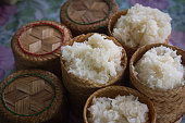 sticky rice in bamboo box Thai style