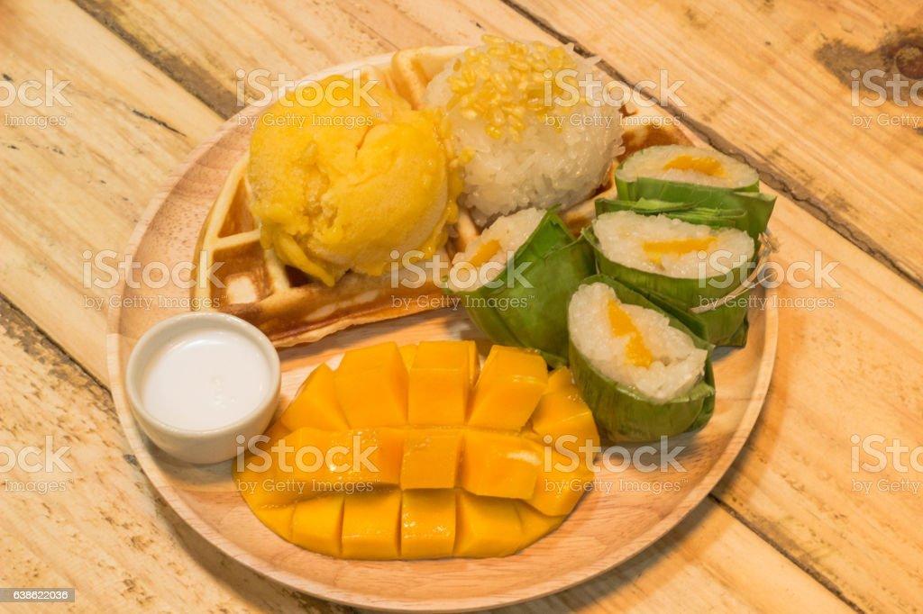 Sticky rice mango stock photo