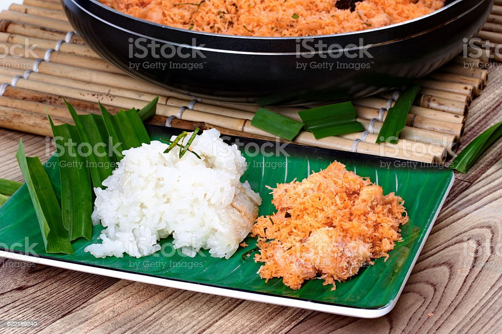 Sticky rice with stir-fried grated coconut,shrimp stock photo