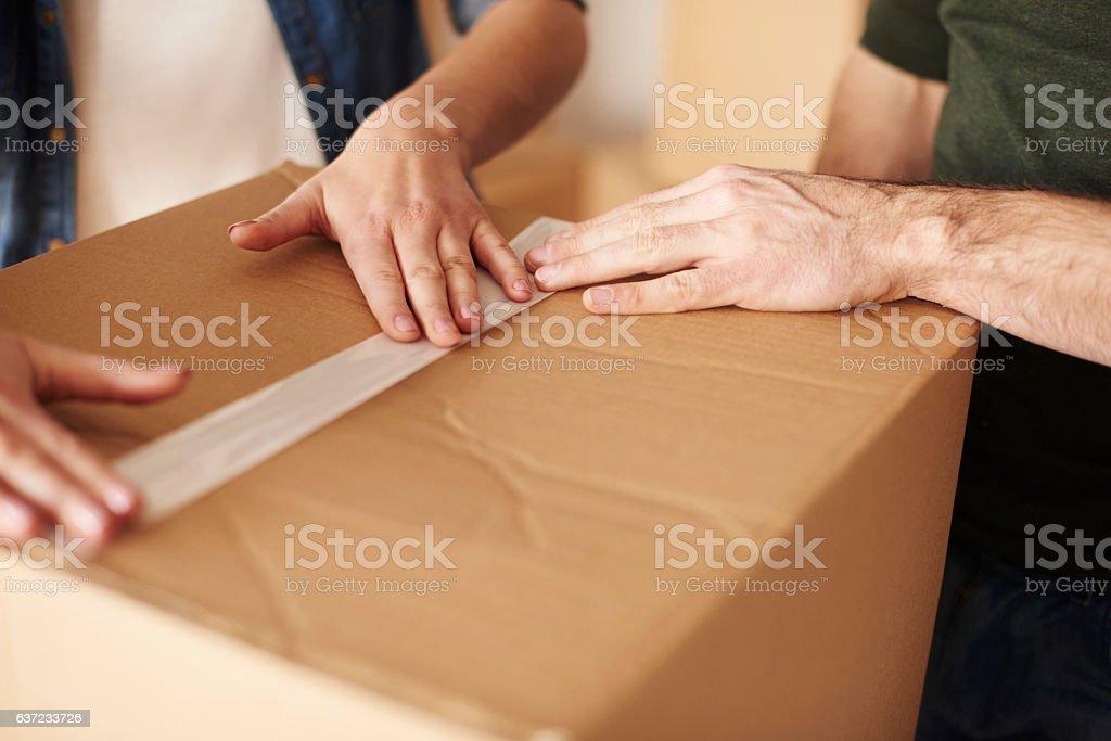 Sticky tape on the box stock photo