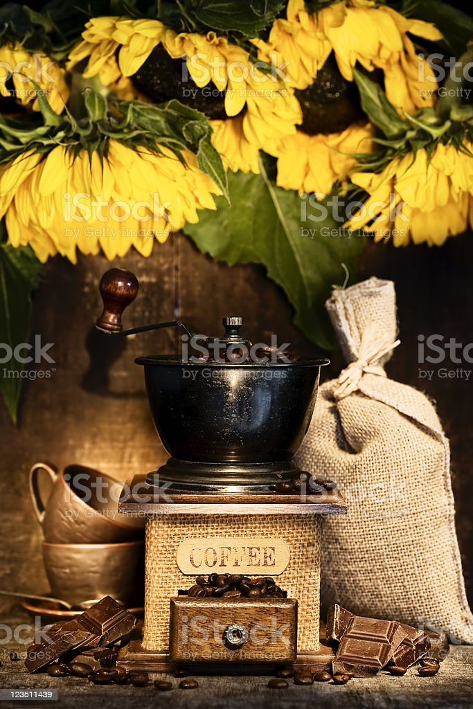 Stiill life with Antique coffee grinder and sunflowers royalty-free stock photo