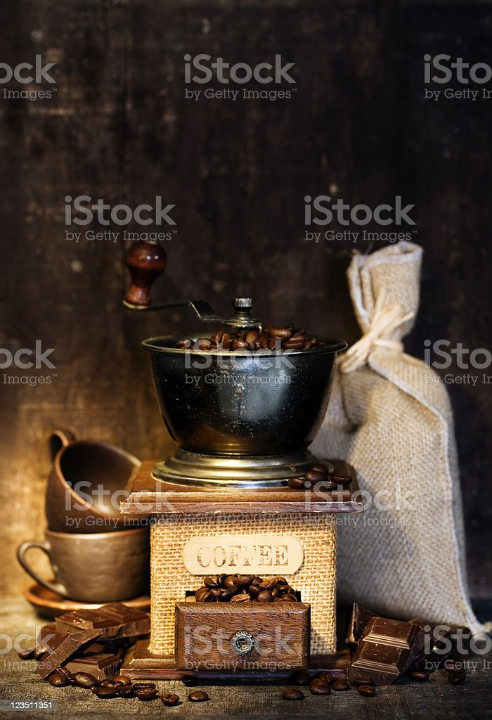 Stiill life with Antique coffee grinder royalty-free stock photo