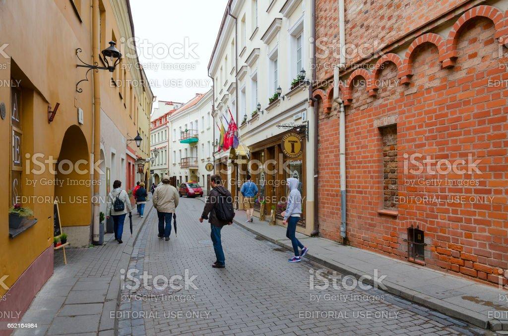 Stikliu Street in Old Town, Vilnius, Lithuania stock photo