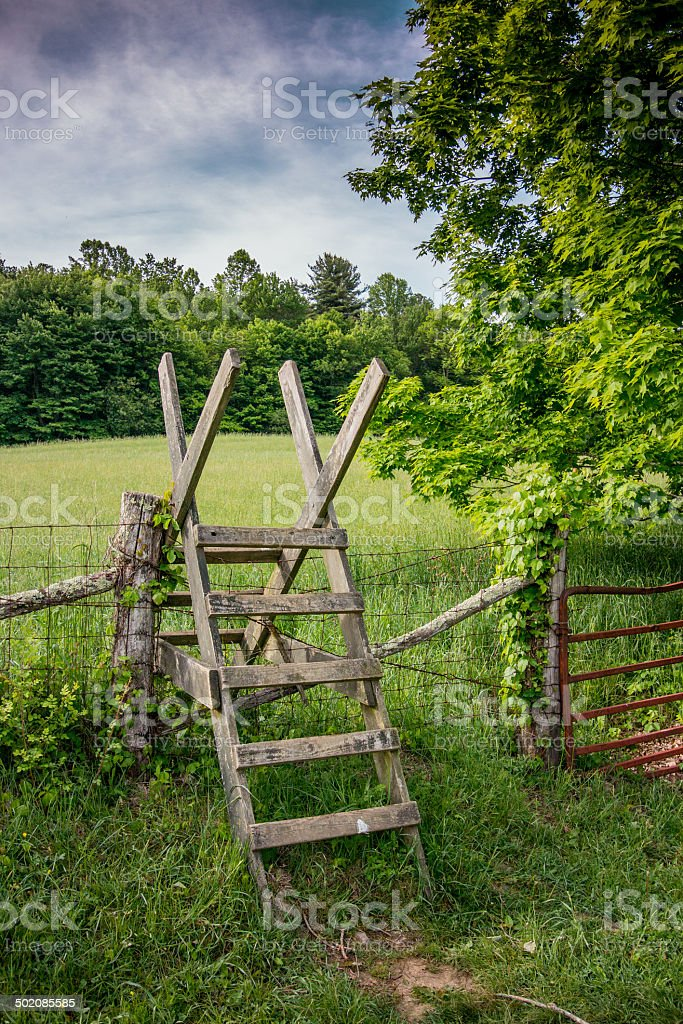 Stile over a fence along the Appalachian Trail stock photo