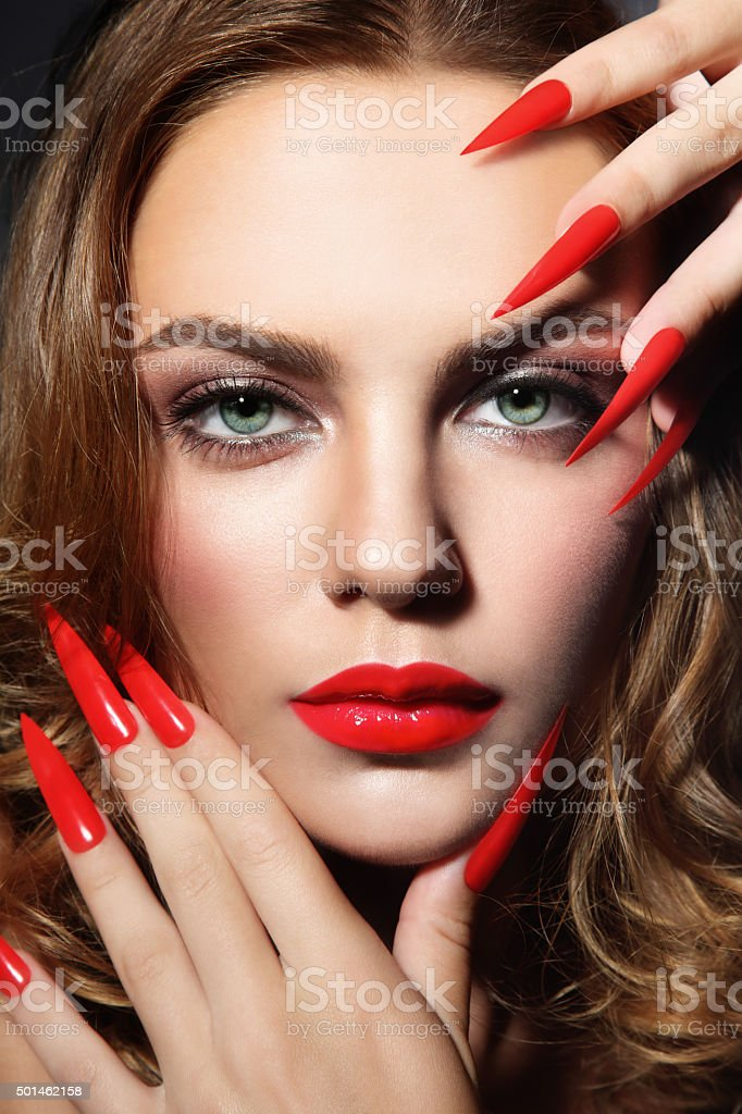 Stiletto nails stock photo