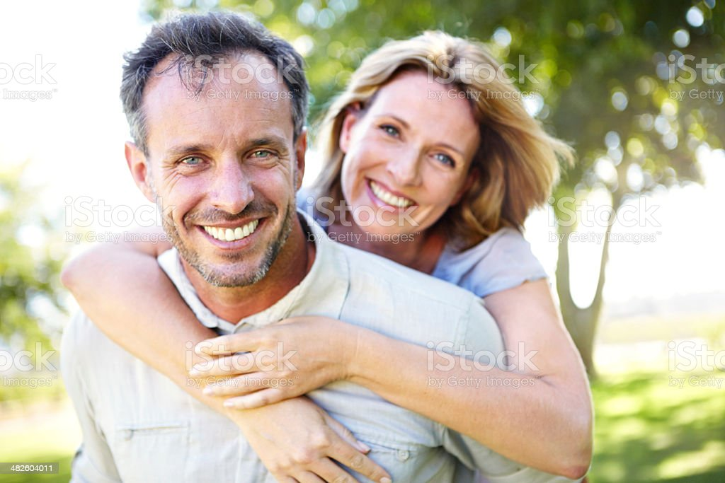 Still enjoying the fun in their relationship stock photo