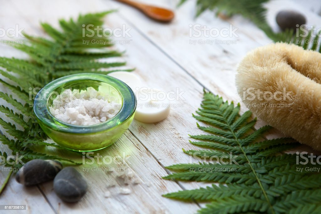 SPA still life. aromatherapy candle, essential oil and bath products stock photo