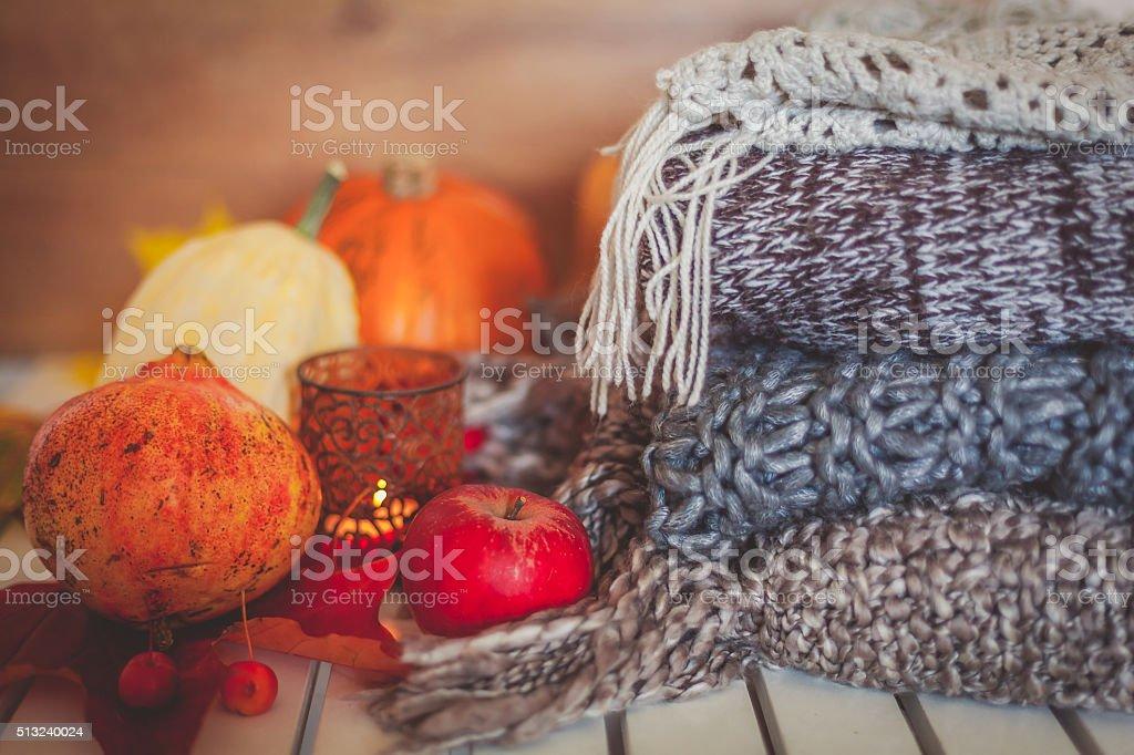 Still life autumn decoration stock photo