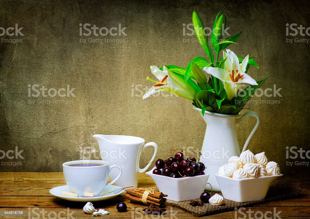 Still life flowers and fruits stock photo