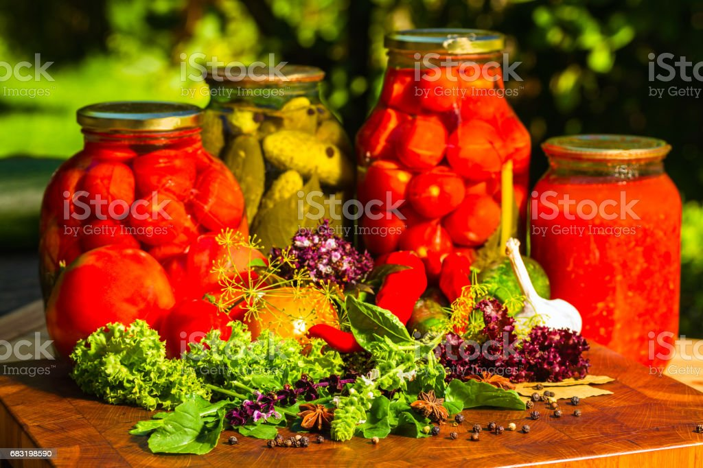 still life from marinated and fresh vegetables stock photo