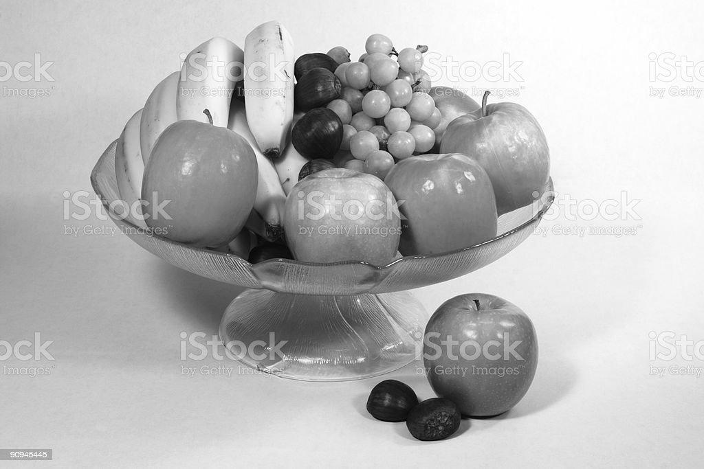 Still Life Fruit Bowl Black and White stock photo