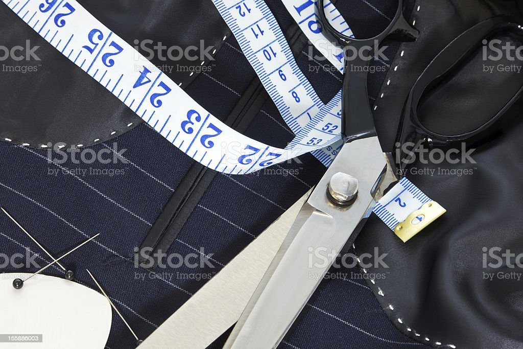 Still life hand stitched suit lining. stock photo