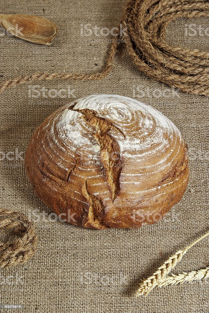 Still life in country style with home made bread royalty-free stock photo