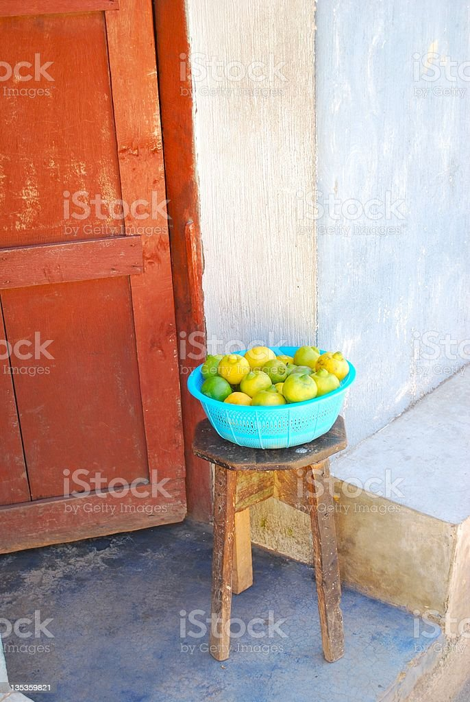 Still Life, Limes on stool. stock photo