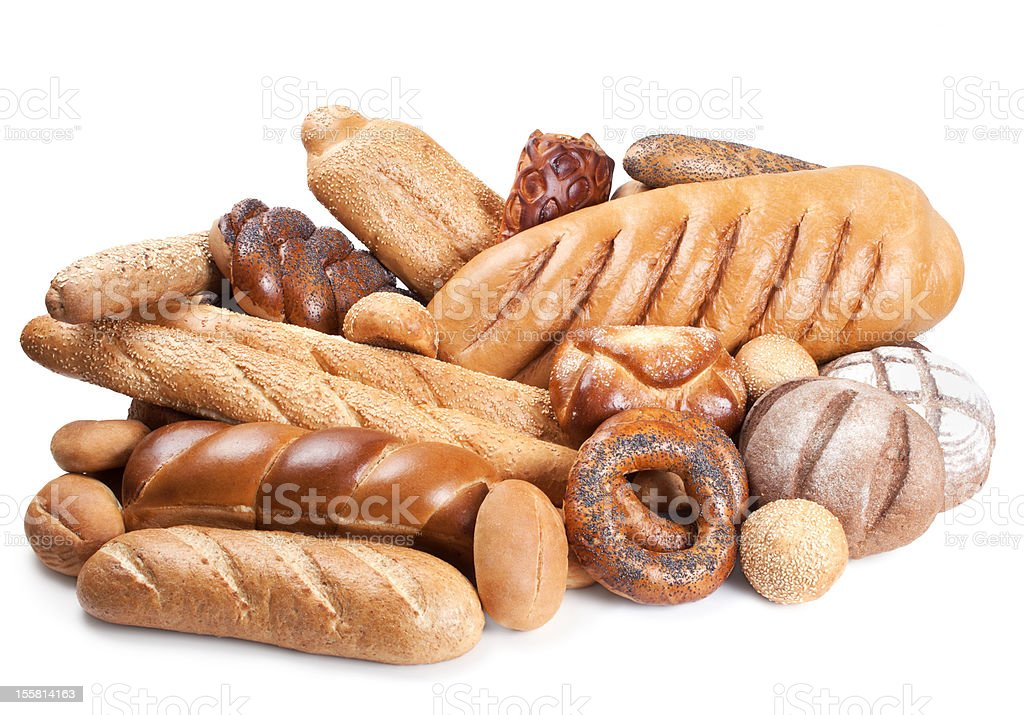 Still life of bakery products isolated on white royalty-free stock photo