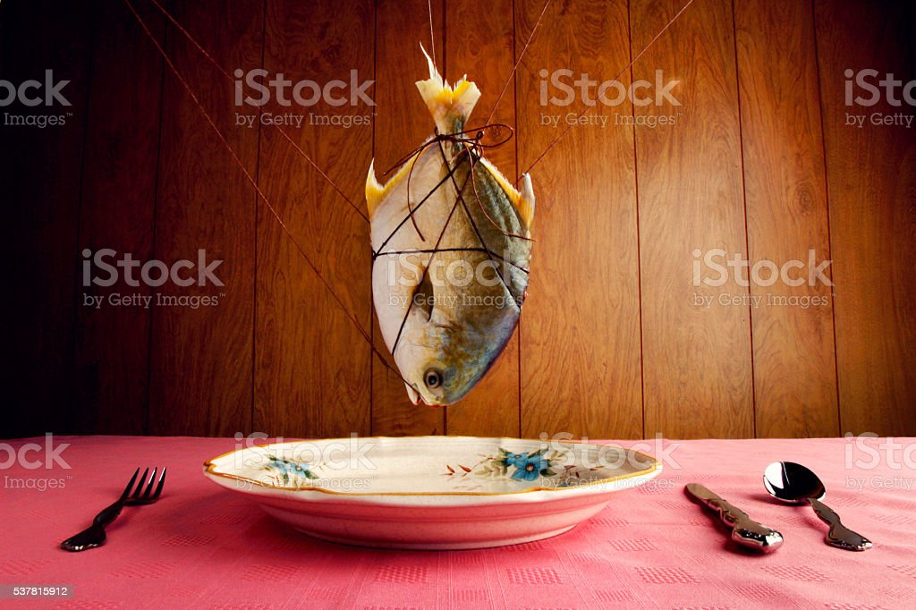 Still life of dead fish hanging above plate setting stock photo