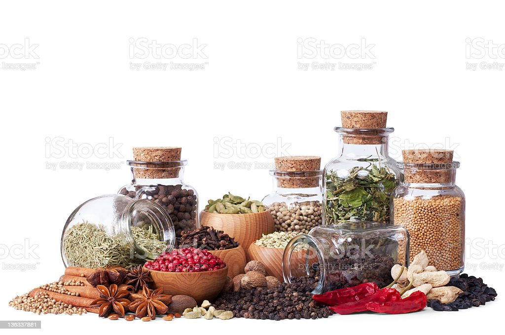 still life of different spices and herbs royalty-free stock photo
