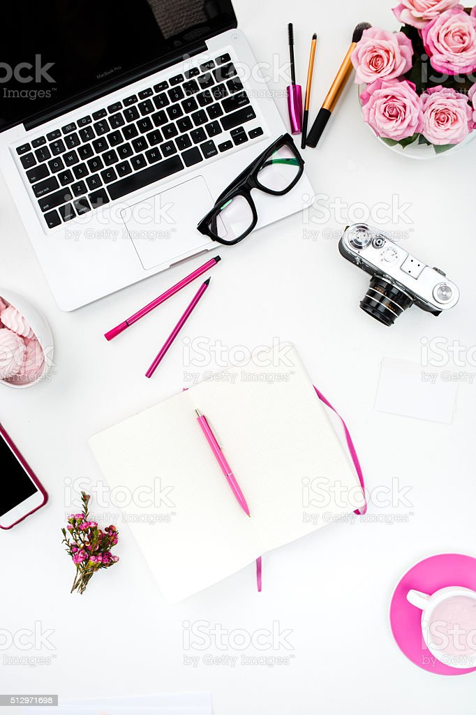 Still life of fashion woman, objects on white stock photo