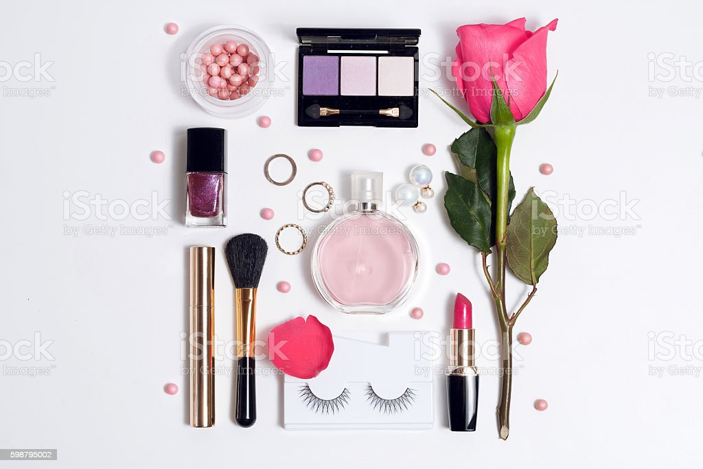 Still life of fashion woman. Set of decorative cosmetic stock photo