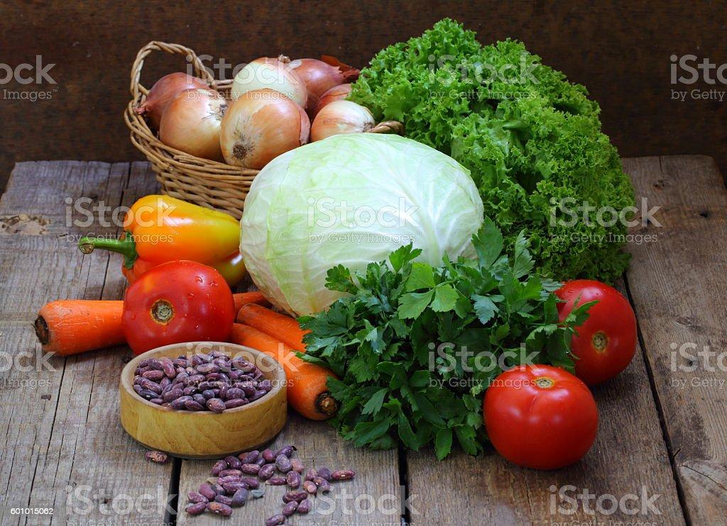 Still life of fresh vegetables stock photo