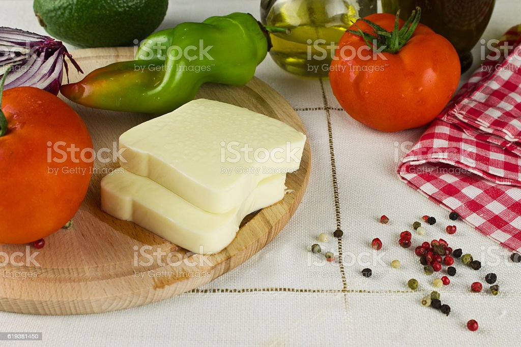Still life of ingredients for salad stock photo