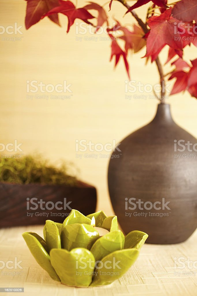 Still life of lotus leaf candle and red maple leaves royalty-free stock photo
