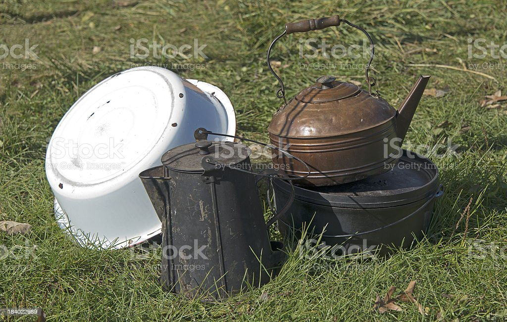 Still Life Of Old Pots And Pans royalty-free stock photo