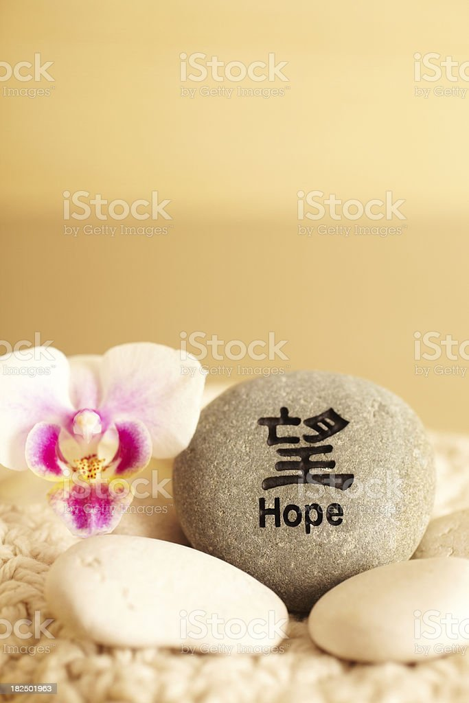 Still Life of rock with Hope in Japanese script royalty-free stock photo