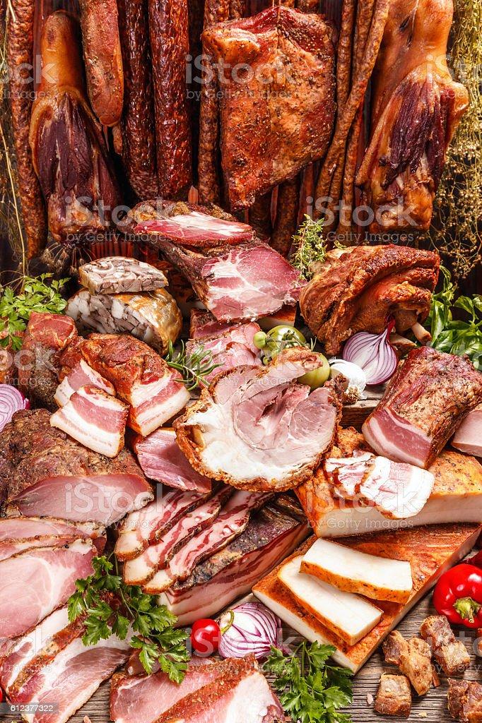 Still life of various smoked pork meat stock photo