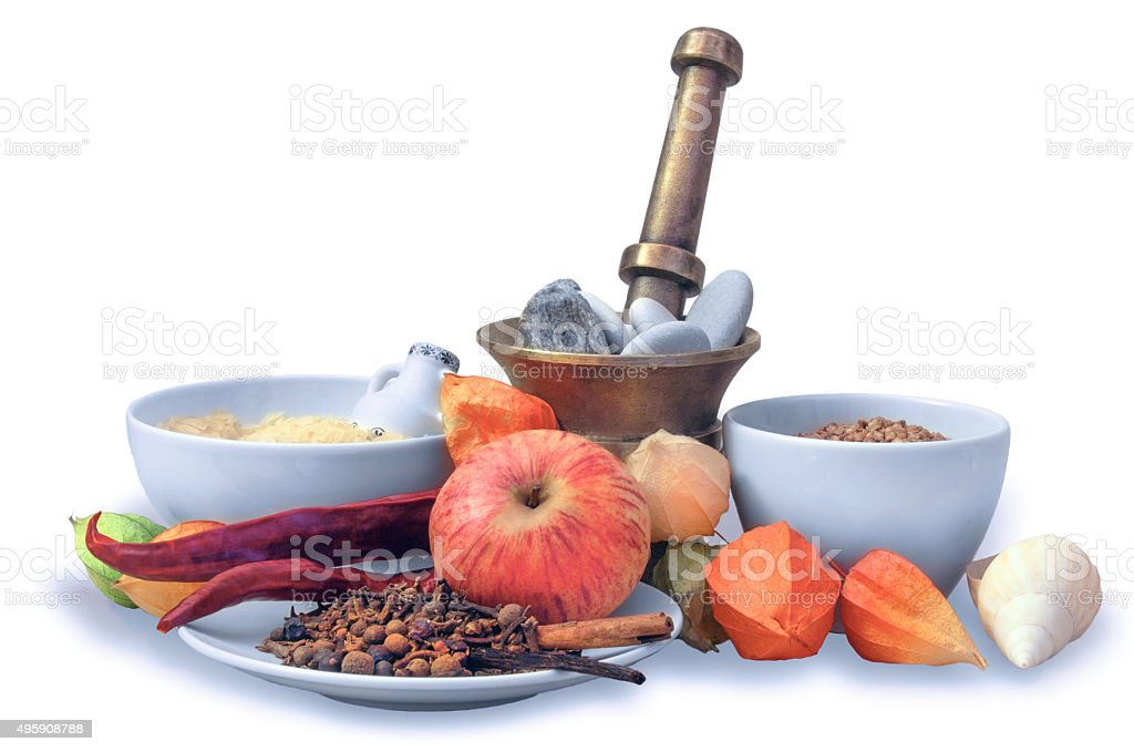 Still life of various spicery, fruit and ceresls stock photo