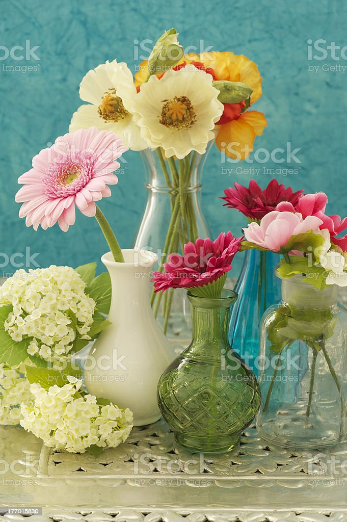 Still life of vases with flowers royalty-free stock photo
