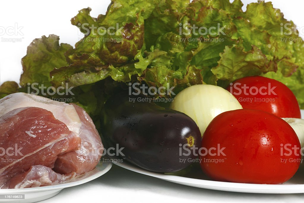 Still life of vegetables and meat for cooking royalty-free stock photo